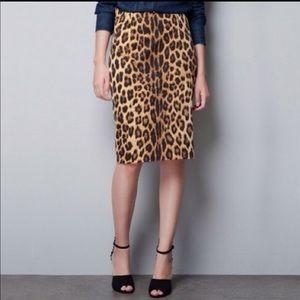 ZARA- Trafaluc Leopard Midi Skirt